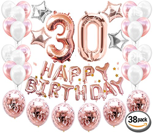 30th BIRTHDAY DECORATIONS Rose Gold (38 Pieces)   Great for 30th Birthday Party Supplies and Rose Gold Party Decorations   Includes Rose Gold Confetti Balloons   Dirty Thirty   Happy (30th Party Balloons)