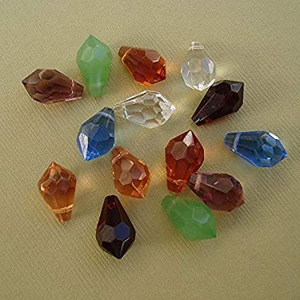14pcs. Crystal Faceted Teardrop Briolette Mixed Color  15x9mm