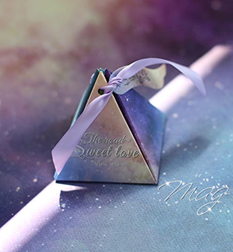 Hilarocky 50Pcs Star Triangle Candy Boxes Wedding Christmas Chocolate Gift Bonbonniere Party Birthday Decor (Triangle Favor Boxes)
