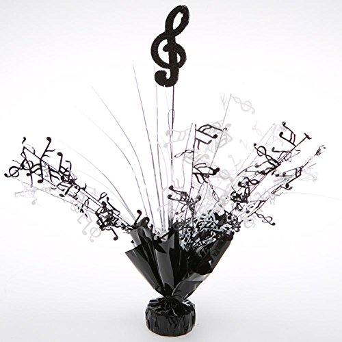 (Party Deco 06177 Balloon Weight Centerpiece - Black Treble Clef - Pack of)