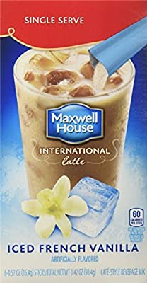 Maxwell House International Coffee French Vanilla Iced Latte Singles, 3.42-Ounce Boxes (Pack of 8) by Maxwell House