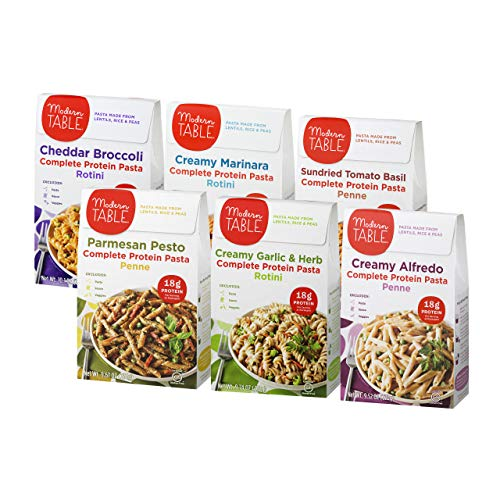 (Modern Table Gluten Free, Complete Protein Lentil Pasta Meal Kit, Variety Pack, 6 Count)