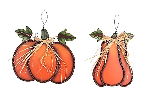 YK Decor Fall Harvest Metal Leaf Pumpkin - Orange