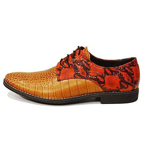 Modello Piquetto - Cuero Italiano Hecho A Mano Hombre Piel Rojo Zapatos Vestir Oxfords - Cuero Cuero repujado - Encaje