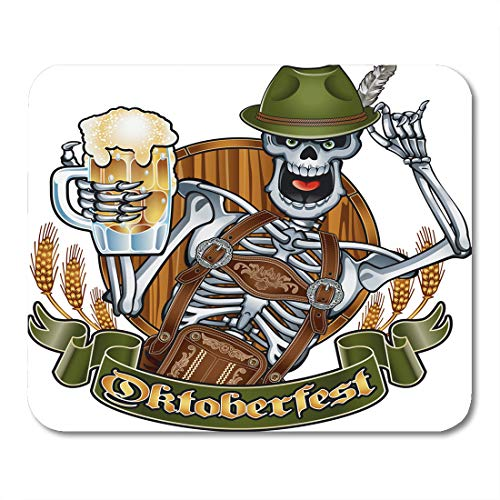 Semtomn Mouse Pad Alcohol Skeleton in Oktoberfest Outfit Holding Beer Glass Bar Mousepad 9.8
