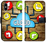 Luxlady iPhone X Flip Fabric Wallet Case IMAGE ID: 34402076 Aerial View of People and Cloud Computing Concepts
