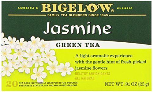 Bigelow Green Tea with Jasmine 20-Count Boxes , 0.91 Oz (Pack of 6)