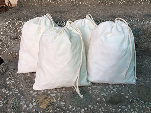 12x16 inches Muslin Cotton Premium Quality Bags, Art and Craft Bags Thicker Fabric and Drawstring *Durable* Pack of 25 by ecogreentextiles