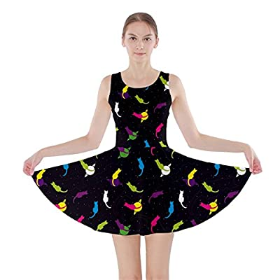 CowCow Womens Cats Kittens Saturn Space Stars Retro Cute Cartoon Skater Dress
