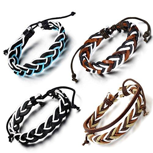 Aroncent Braided Leather Bracelets Adjustable