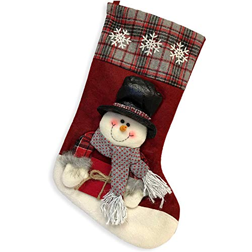 - BANBERRY DESIGNS Classic Christmas Stocking- 3-D Snowman Holding Gift Wearing Plush Top Hat and Scarf-for Xmas Decoration or Holiday Parties
