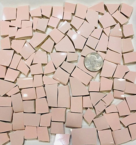 100+ Mosaic Tile Art Supply for Mosaics & Crafts ~ Pale Pink Tiles (T#493)