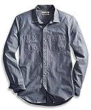 Goodthreads Men's Slim-Fit Long-Sleeve Double Pocket Work Shirt, Blue, Large
