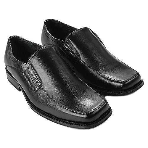 Mens Delli Aldo M-16063 Square Toe Double Elastic Loafer Slip On Dress  Formal Shoes