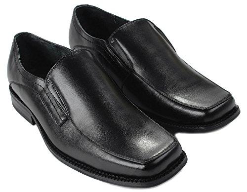 Mens Delli Aldo M-16063 Orteil Carré Slip Élastique Double Loafer Sur La Robe Chaussures Formelles Noir