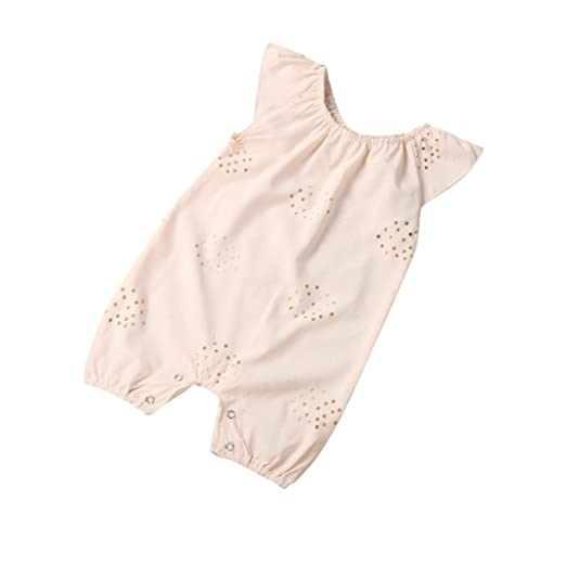 Jarsh Newborn Baby Girls Floral Print Ruffles Cotton Romper Bodysuit Outfits