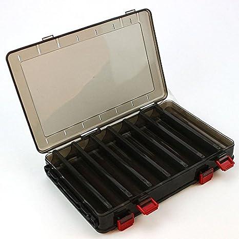 SODIAL Caja de Cebo de Pesca de Doble Cara PP Caja de Almacenamiento de plastico de 18.5x27.5x5cm 14 Espacio Caja de camarones de Madera Caja de Pesca senuelo: Amazon.es: Deportes y aire