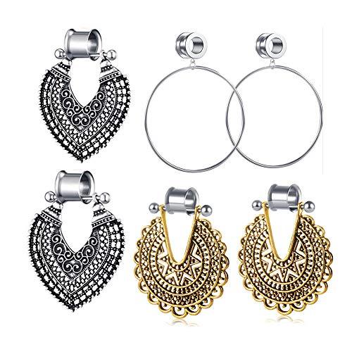3 Pairs Stainless Steel Dangple Plugs Women Gauges Silver Large Hoop Ear Tunnels Dangle Gauges Piercing (6mm=2g) ()