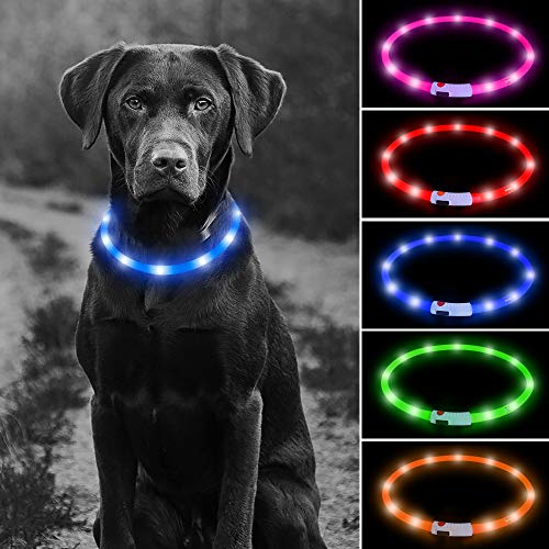 Higo LED Dog Collar, USB Rechargeable Glowing Pet Safety Collar, Silicone Cuttable Light Up Collars for Your Small Medium Large Dogs(Blue)