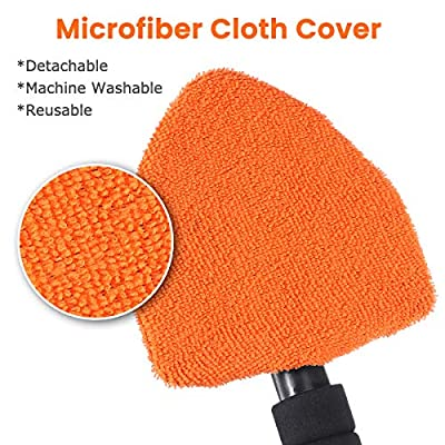 MATCC Window Windshield Cleaner Car Windshield Cleaning Tool Car Glass Wiper with Extendable 180° Long-Reach Handle and Washable Reusable Microfiber Pad, Interior Exterior Window Cleaning Kit: Automotive