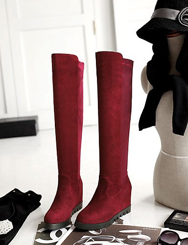 Mujer 7 Black Botas Vestido 5 De Cuña Cn43 Red Zapatos A 5 5 us6 Rojo Vellón Negro 5 5 Casual Eu42 us10 Tacón Eu37 Punta La Uk8 Redonda Xzz Cn37 Moda Uk4 gE0FqxPw