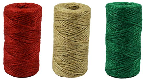 (Set of 3 Black Duck Brand Christmas Holiday Rope Jute Twine Rolls - 180 Ft Each - Red. Green, Natural (3))