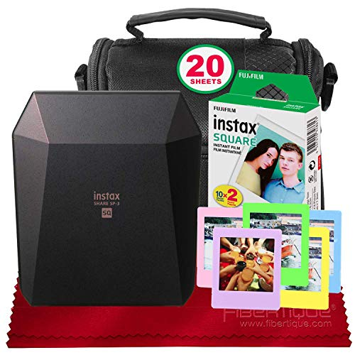 (Fujifilm Instax Share SP-3 Smartphone Printer (Black) with 20 Sheets of Instant Square Film with Basic Bundle (USA)