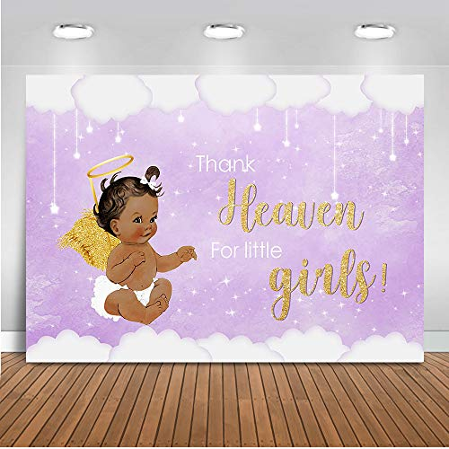 Mocsicka Heaven Sent Girl Baby Shower Backdrop Thank Heaven for Little Girls Photography Background 7x5ft Vinyl Heaven Sent Baby Shower Banner Backdrops