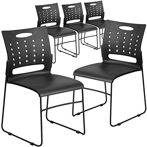 (Flash Furniture 5 Pk. HERCULES Series 881 lb. Capacity Black Sled Base Stack Chair with Air-Vent Back)