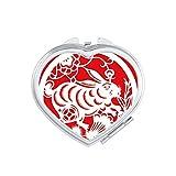 DIYthinker Paper-cut Rabbits Animal China Zodiac Art Heart Compact Makeup Mirror Portable Cute Hand Pocket Mirrors Gift