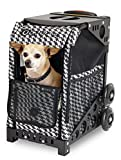 Zuca ZuZuca Rolling Pet Carrier - Houndstooth Black Insert Bag, Choose Your Frame Color (Black Frame & Flashing Wheels)