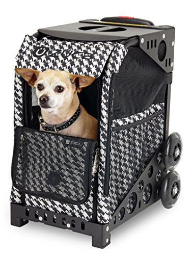 ZUCA Rolling Pet Carrier - Houndstooth Black Bag with Black Sport Frame, Non-Flashing Wheels