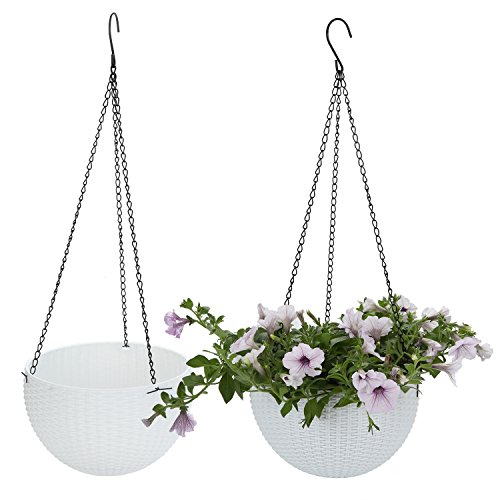 T4U Plastic Hanging Planter White Pack of 2, Self Watering Basket Round Flower Plant Orchid Herb Holder Container for Home Office Garden Porch Balcony Wall Indoor Outdoor Decoration Gift ()
