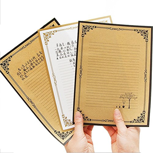 24Pcs Vintage Retro Design Writing Stationery Paper Letter Writing Paper Letter Sets,White