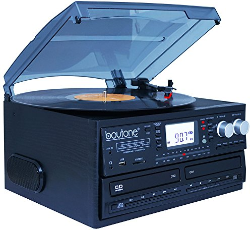 Boytone BT-29B, Bluetooth Dual CD Player and Recorder CD2 to CD1, AM/FM Radio Turntable Record Player 2 Built-in Stereo Speakers, Cassette Player, SD Slot, USB, AUX, Headphone Jack, Limited Edition by Boytone (Image #3)