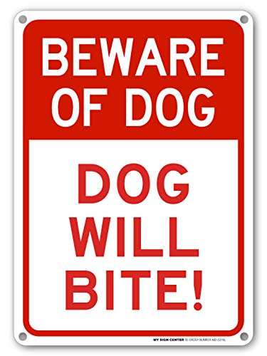 Beware of Dog Sign - Dog Will Bite, Indoor/Outdoor UV Protected Laminated Rust-Proof and Fade-Resistant .040 Aluminum, Dog Warning Signs for Private Property, 14