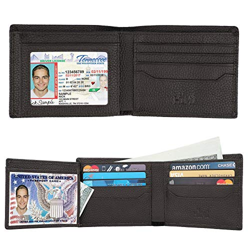Wallets for Men - RFID Blocking Trifold Genuine Leather Wallet With 2 ID Window (Coffee-pebble Leather)