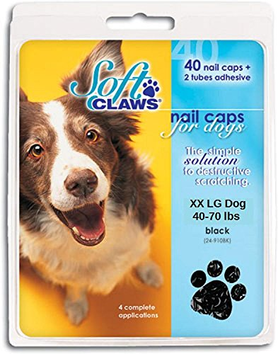 Soft Claws Nail Caps - Soft Claws XX Large Black Nail Caps for Dogs 40-70 lbs Canine Paws