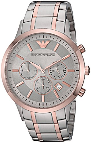 Emporio Armani AR11077 Men's 'Dress' Quartz Stainless Steel Casual Watch, Color:Silver-Toned
