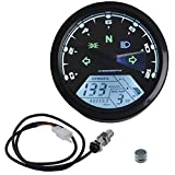 Ambuker LCD Digital Speedometer Tachometer Odometer MPH/KMH 124MPH/ 199kmh 12000 rpm for 4 stroke 1/2/4 Cylinders Motorcycle