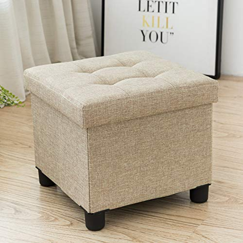 (Cassilia Foldable Storage Ottoman Square Cube Coffee Table Multipurpose Footrest Stool for Bedroom and Living Room Storage (Beige))