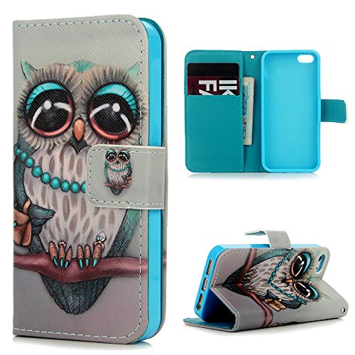 iPhone 5 Wallet Case, iPhone 5S Case, YOKIRIN PU Leather Premium [Card Holder] [Book Design] Magnetic Closure Stand Flip Protective Cover Case for iPhone SE / 5 / 5S - Owl