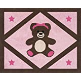 Pink and Chocolate Teddy Bear Girls Accent Floor Rug by Sweet Jojo Designs