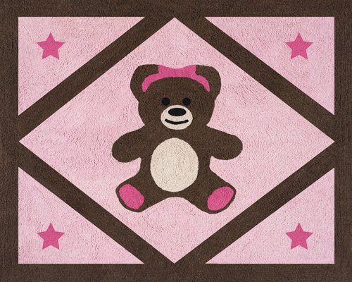 Pink Teddy Bear Design (Pink and Chocolate Teddy Bear Girls Accent Floor Rug by Sweet Jojo Designs)
