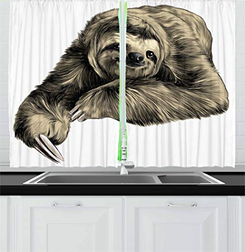 """Ambesonne Sloth Kitchen Curtains, Sweetly Smiling Jungle Animals Lying Down with Crossed Legs Tropic Fauna Sketch, Window Drapes 2 Panel Set for Kitchen Cafe Decor, 55"""" X 39"""", Black Ivory"""