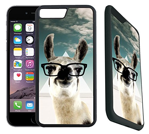 [TeleSkins] - Rubber Designer Case For iPhone 7 Plus / iPhone 8 Plus - Hipster Llama Geek Glass - Ultra Durable Slim Fit, Protective Plastic with Soft RUBBER TPU Snap ()