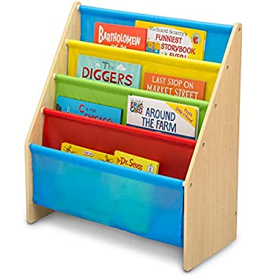 Delta Children Sling Book Rack Bookshelf for Kids - Easy-to-Reach Storage for Books, Magazines or Coloring Books - Ideal for Playrooms & Homeschooling, Natural/Primary : Baby