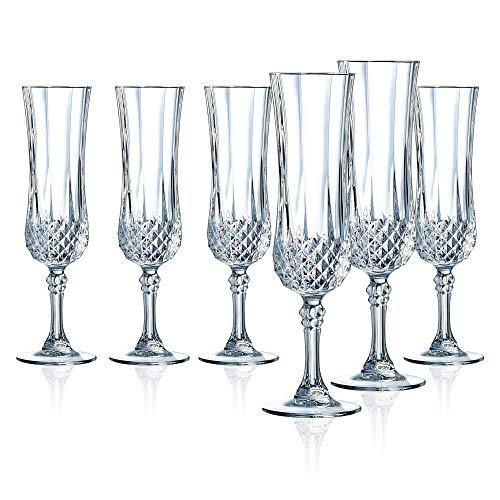 Cristal D'Arques M0082 Longchamp 4.5 Ounce Champagne Flute Glass, Set of 6, Clear