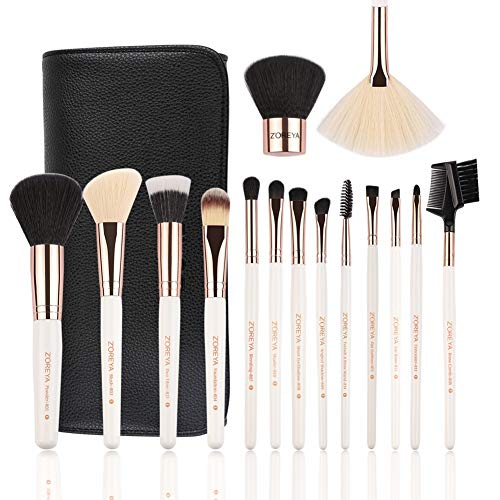 Makeup Brushes Set 15pc Rose Gold Make Up Brush Set Premium Synthetic Foundation Powder Concealers Eye Shadows With Professional Easy Travel Vegan Leather Case Bag Organizer
