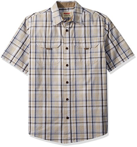 Wrangler Authentics Men's Authentics Short Sleeve Canvas Shirt, Dark Putty Plaid, L (Sport Plaid Shirt Pocket)